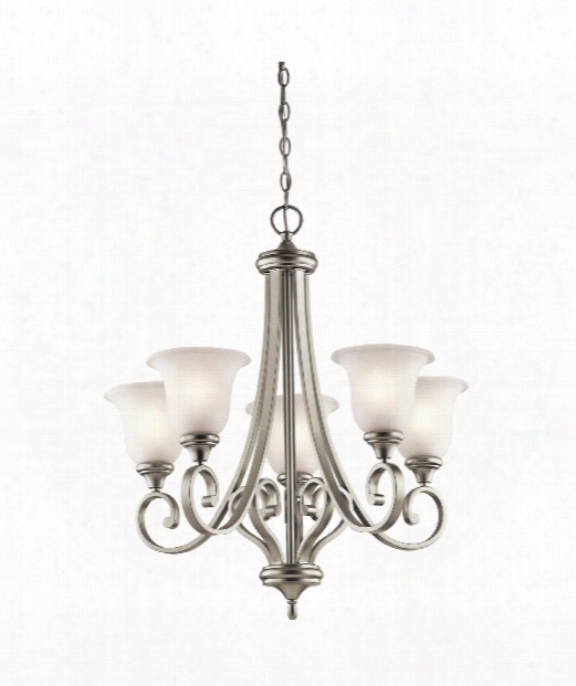"Monroe 28"" Led 5 Light Chandelier In Brushed Nickel"