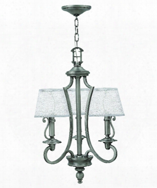 """Plymouth 18"""" 3 Light Mini Chandelier In Polished Antique Nickel"""