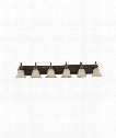 "Gladstone 50"" LED 6 Light Bath Vanity Light in Heirloom Bronze"
