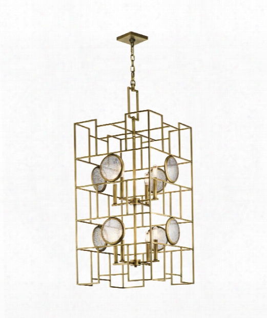 """Vance 20"""" 8 Light Foyer Pendant In Natural Brass"""
