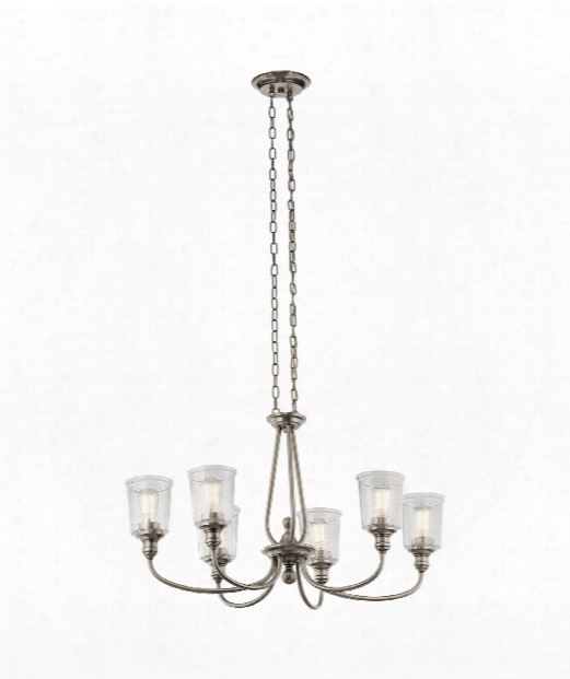 """Waverly 20"""" 6 Light Chandelier In Classic Pewter"""