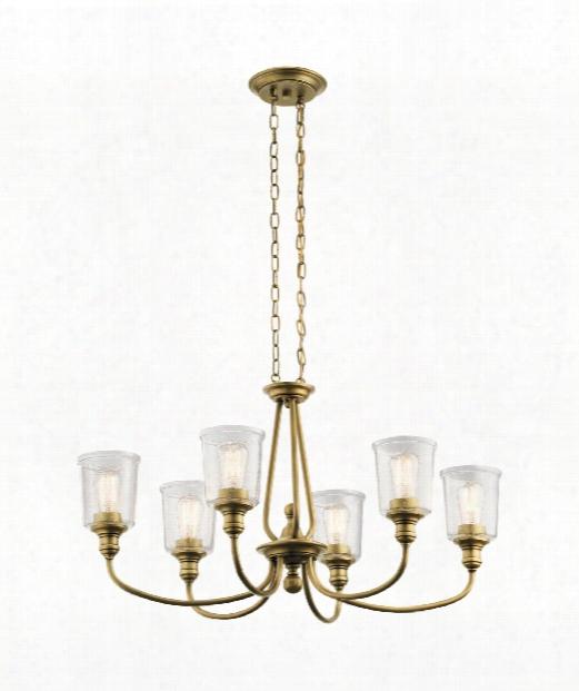 "Waverly 20"" 6 Light Chandelier In Natural Brass"