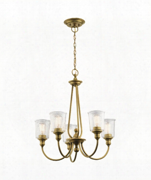 "Waverly 26"" 5 Light Chandelier In Natural Brass"