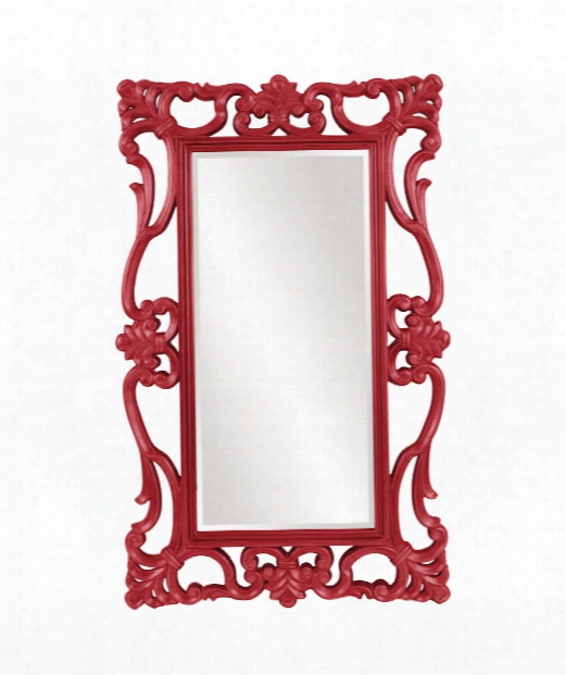 "Whittington 44"" Wall Mirror In Glossy Red"