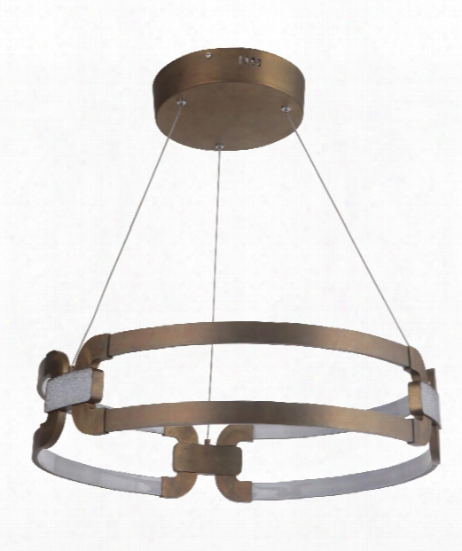 "Amulet 24"" Led 3 Light Large Pendant In Patina Aged Brass"