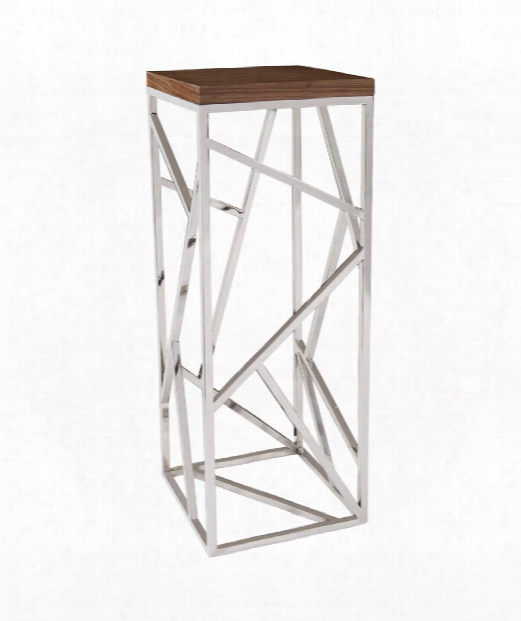 "Angles 16"" Pedestal In Stainless Steel-maple Wood Veneer"