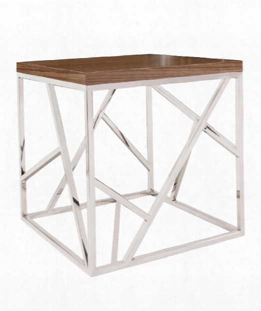 """Angles 24"""" Console Table In Stainless Steel-maple Wood Veneer"""