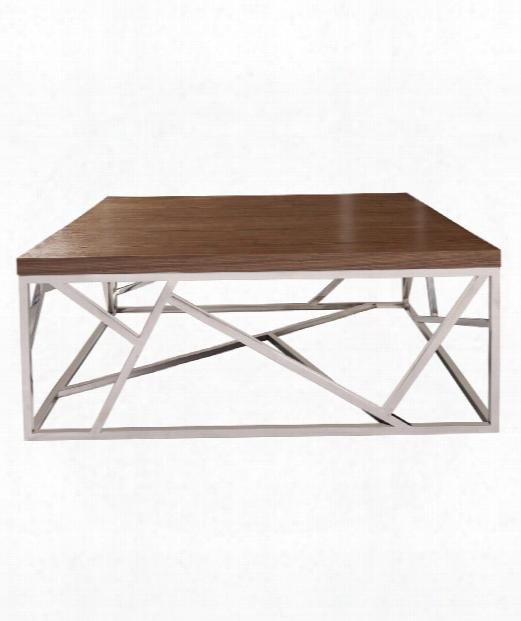 """Angles 40"""" Coffee Table In Stainless Steel-maple Wood Veneer"""
