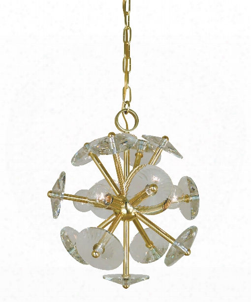"Apogee 13"" 4 Light Mini Pendant In Polished Brass"