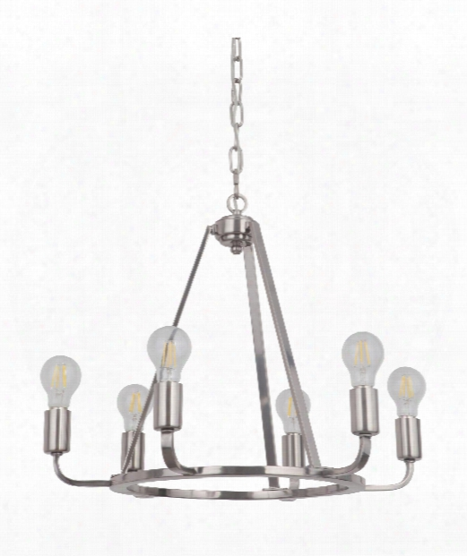 "Arc 23"" 6 Light Chandelier In Polished Nickel"