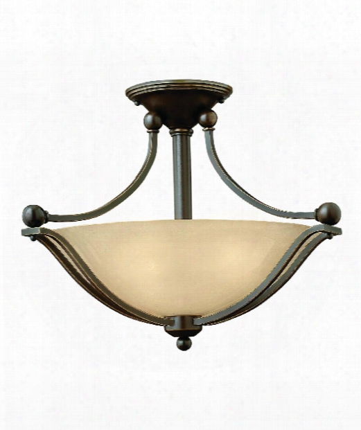 "Bolla 19"" Led 2 Light Semi Flush Mount In Olde Bronze"