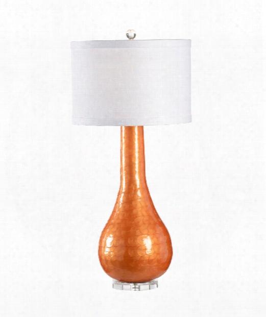 Cameron 1 Light Table Lamp In Orange Swirl Enamel