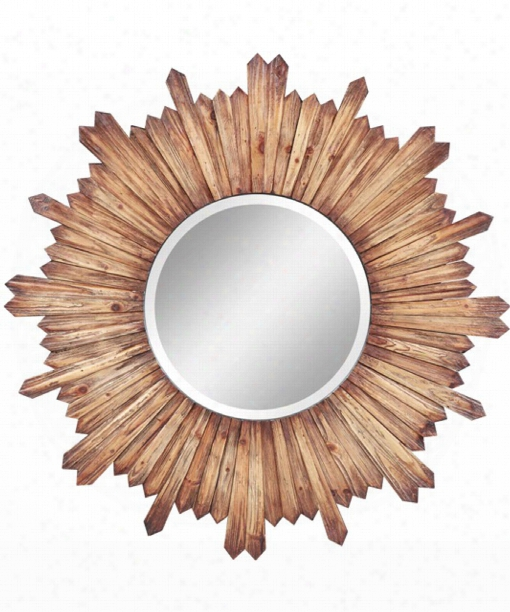 """Catherine 36"""" Wall Mirror In Natural Rustic Wood"""
