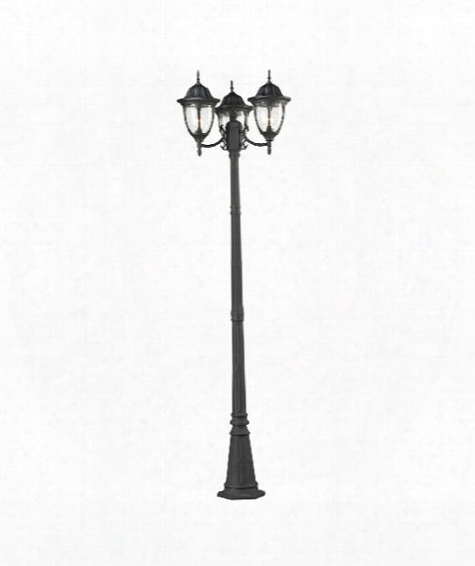 """Central Square 14"""" 3 Light Outdoor Outdoor Post Lamp In Textured Matte Black"""