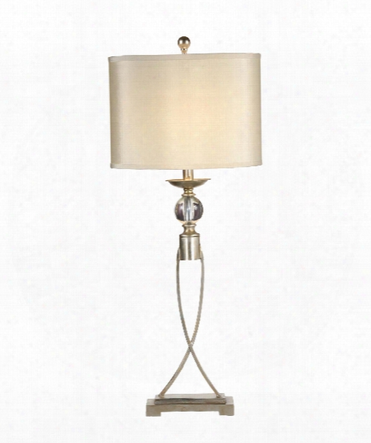 Crystal Ball 1 Light Table Lamp In Antique Silver