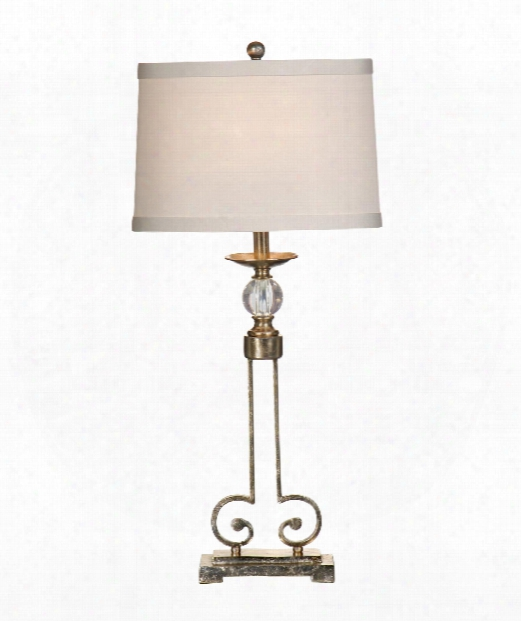 Curlicue And Crystal Table Lamp In Iron