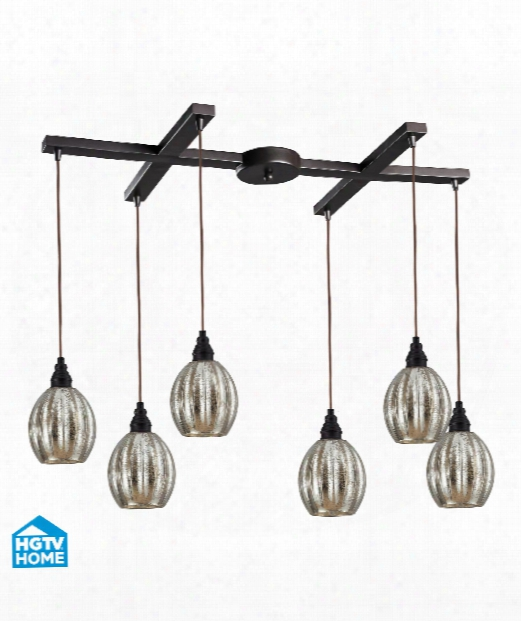 "Danica 33"" 6 Light Multi Pendant Light In Oiled Bronze"