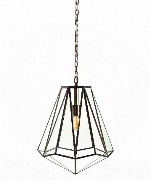 "Edmond 17"" Large Pendant In Antique Brass"