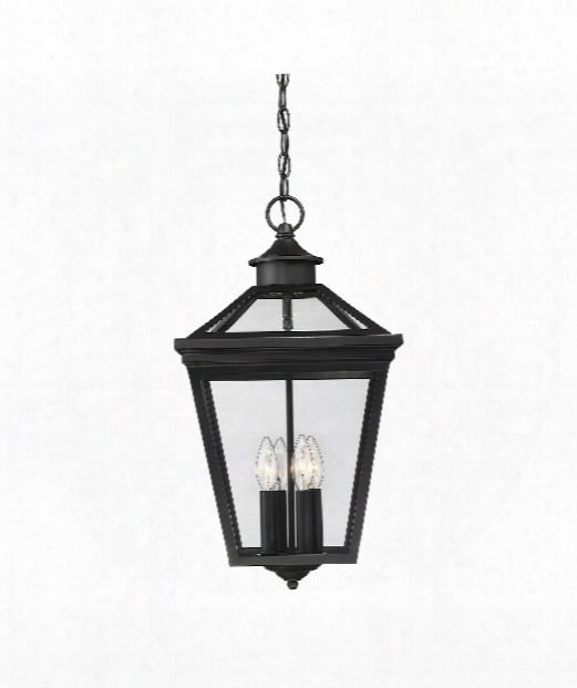 "Ellijay 12"" 4 Light Outdoor Hanging Lantern In Black"
