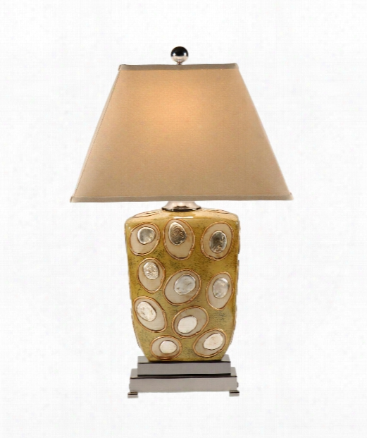 Flat Stones 1 Light Table Lamp In Beige Hand Decorated Porcelain
