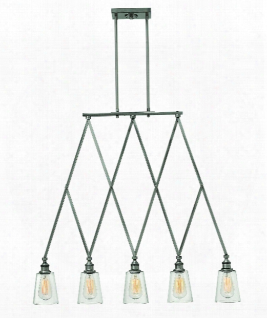 "Gatsby 36"" 5 Light Island Light In Polished Antique Nickel"