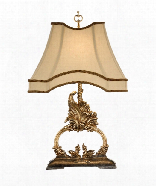 Gilt Flourish 1 Light Table Lamp In Gold Metal Lead With Old Silver