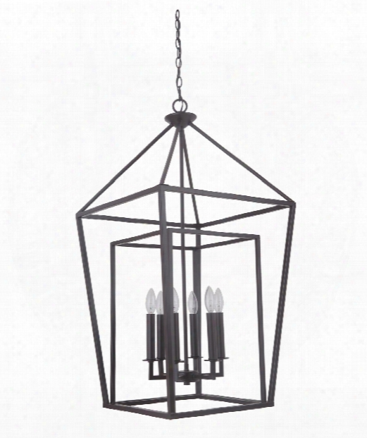"Hudson 19"" 6 Light Foyer Pendant In Oiled Bronze"