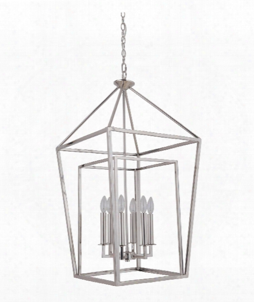 "Hudson 19"" 6 Light Foyer Pendant In Polished Nickel"