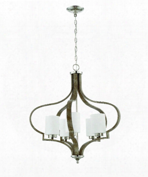"Jasmine 26"" 5 Light Chandelier In Polished Nickel-weathered Fir"