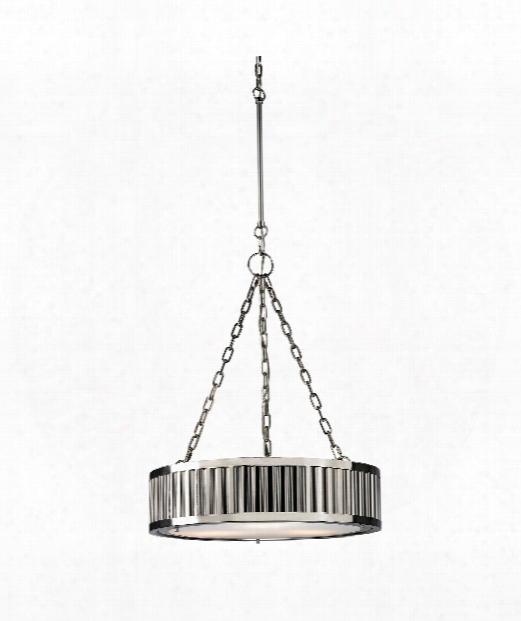 """Linden 21"""" 3 Light Large Pendant In Polished Nickel"""