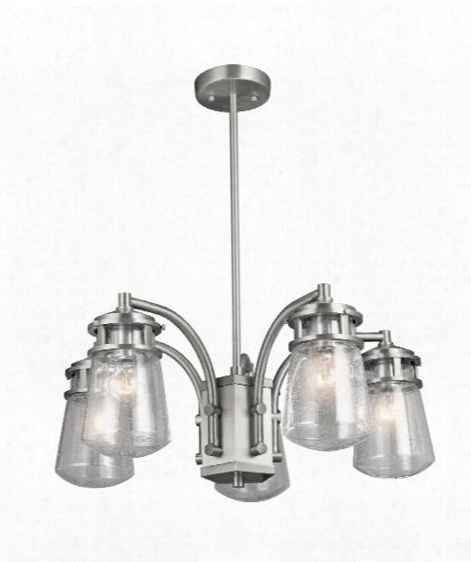 "Lyndon 24"" 5 Light Outdoor Hanging Lantern In Brushed Aluminum"