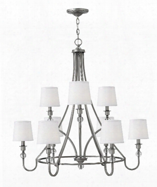 "Morgan 35"" 9 Light Chandelier In Antique Nickel"