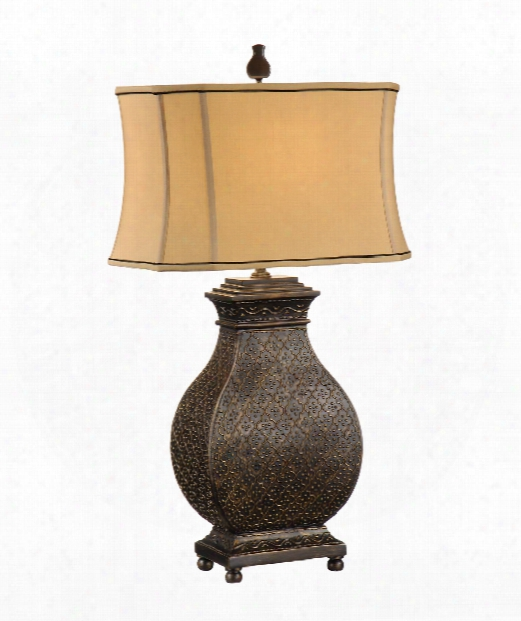 Morrocan Bronze 1 Light Table Lamp In Old Bronze