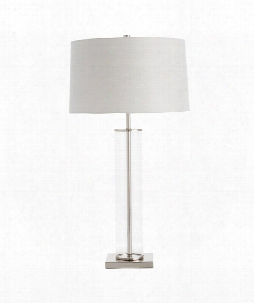"Norman 17"" 1 Light Table Lamp In Polished Nickel-clear"