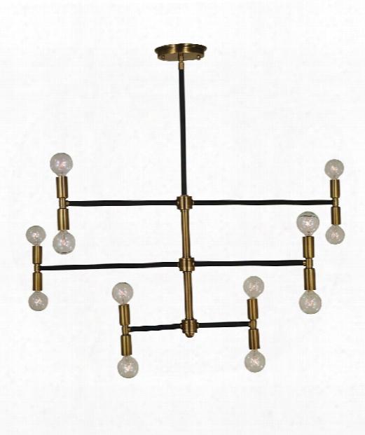 "Parallax 38"" 12 Light Large Pendant In Antique Brass - Matte Black"