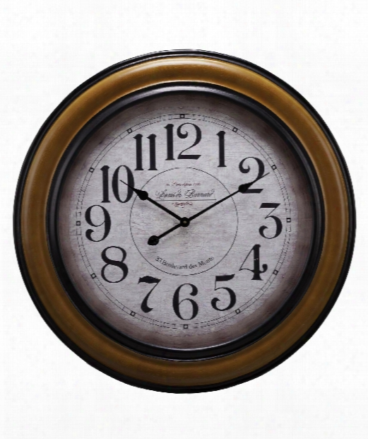 "Payton 32"" Wall Clock In Chestnut With Black Borders"