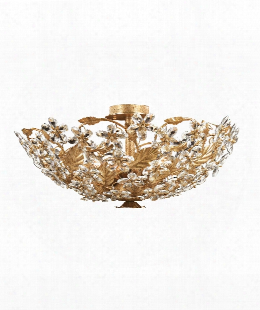 "Primrose 24"" 6 Light Flush Mount In Gold Leaf"
