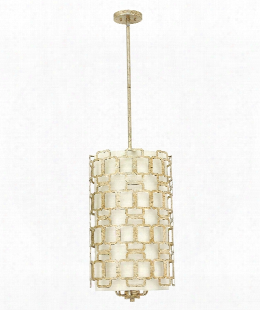 "Sabina 15"" 6 Light Foyer Pendant In Silver Leaf"