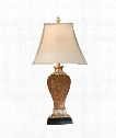 1 Light Table Lamp in Faux Bronze and Leather