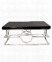 "40"" Coffee Table in Black Mirrored-Stainless Steel"