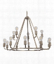 "Arc 35"" 15 Light Chandelier in Satin Brass"
