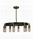"Felix 23"" 8 Light Chandelier in Antique Brass - Matte Black"