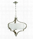 "Jasmine 22"" 3 Light Large Pendant in Polished Nickel-Weathered Fir"