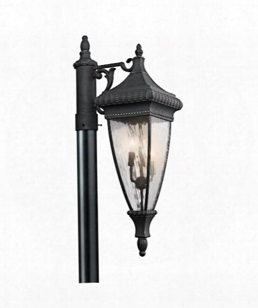 """Venetian Rain 10"""" 3 Light Outdoor Outdoor Post Lamp In Black With Gold"""