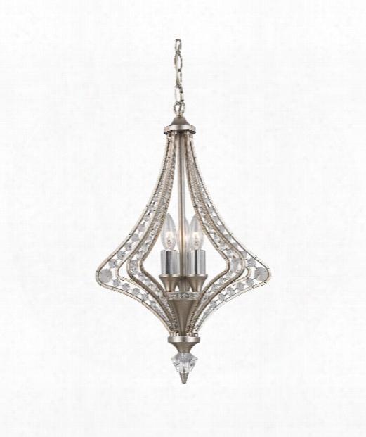 "Ventoux 6"" 3 Light Mini Chandelier In Satin Silver"