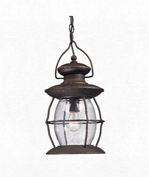 "Village Lantern 5"" 1 Light Foyer Pendant In Weathered Charcoal"