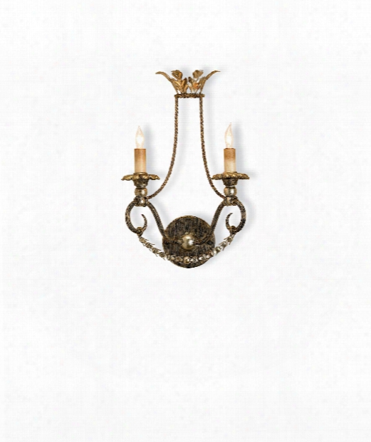"""Anise 11"""" 2 Light Wall Sconce In Barcelona Gold-gold Leaf-silver Leaf"""
