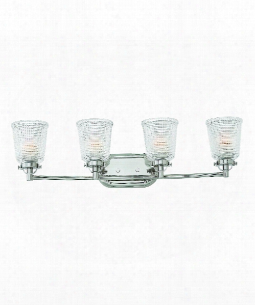 "Bennett 32"" 4 Light Bath Vanity Light In Polished Nickel"