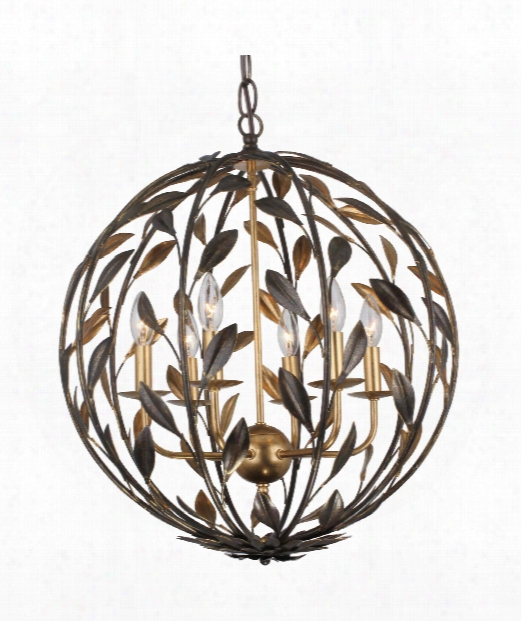 """Broche 21"""" 6 Light Large Pendant In English Bronze And Antique Gold"""