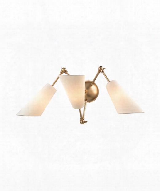 """Buckingham 27"""" 3 Light Wall Swing Lamp In Aged Brass"""